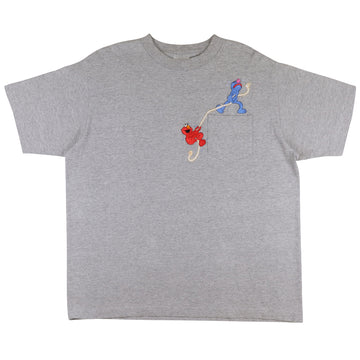 1990s Jim Henson Sesame Street Elmo & Grover Embroidered Pocket T-Shirt XL