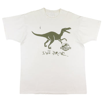 1997 Jurassic Park The Lost World I Will Survive Velociraptor T-Shirt XL