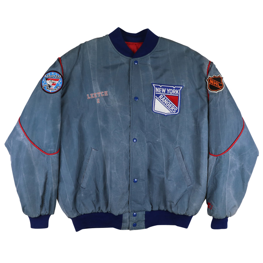 1994 Starter New York Rangers Custom Brian Leetch Snap Front Jacket XL