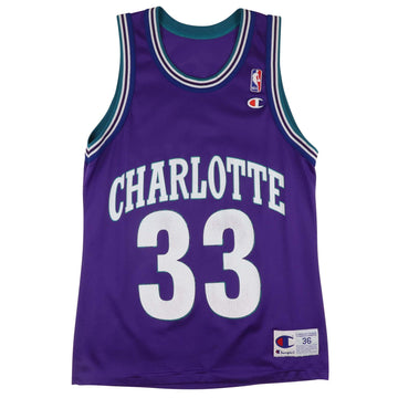 1990s Champion Charlotte Hornets Alonzo Mourning Jersey 36