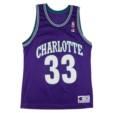 1990s Champion Charlotte Hornets Alonzo Mourning Jersey 40