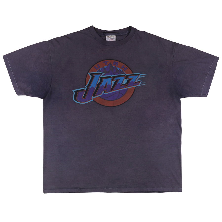 1990s Utah Jazz Discover Card Sponsor Over Dyed T-Shirt XL