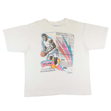 1990s San Antonio Spurs David Robinson Newspaper Print T-Shirt XL