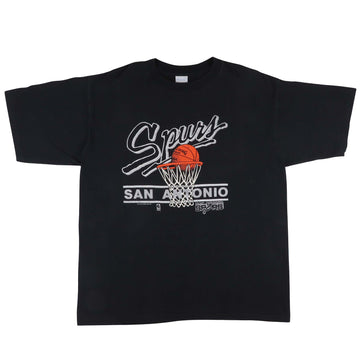 1980s San Antonio Spurs Basketball Hoop T-Shirt XL