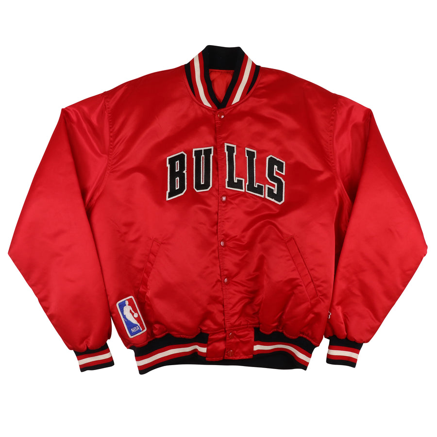 1990s Starter Chicago Bulls Snap Front Satin Jacket XL