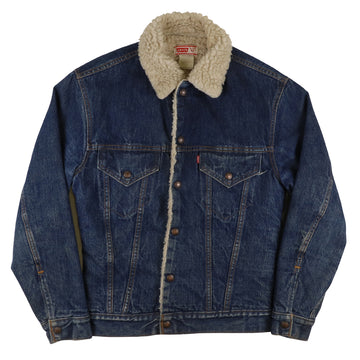 1980s Levi's Red Tab Sherpa Lined Boa Snap Front Trucker Jean Jacket 34