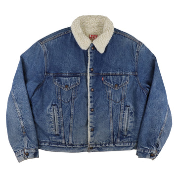 1980s Levi's Red Tab Sherpa Lined Boa Snap Front Trucker Jean Jacket 46