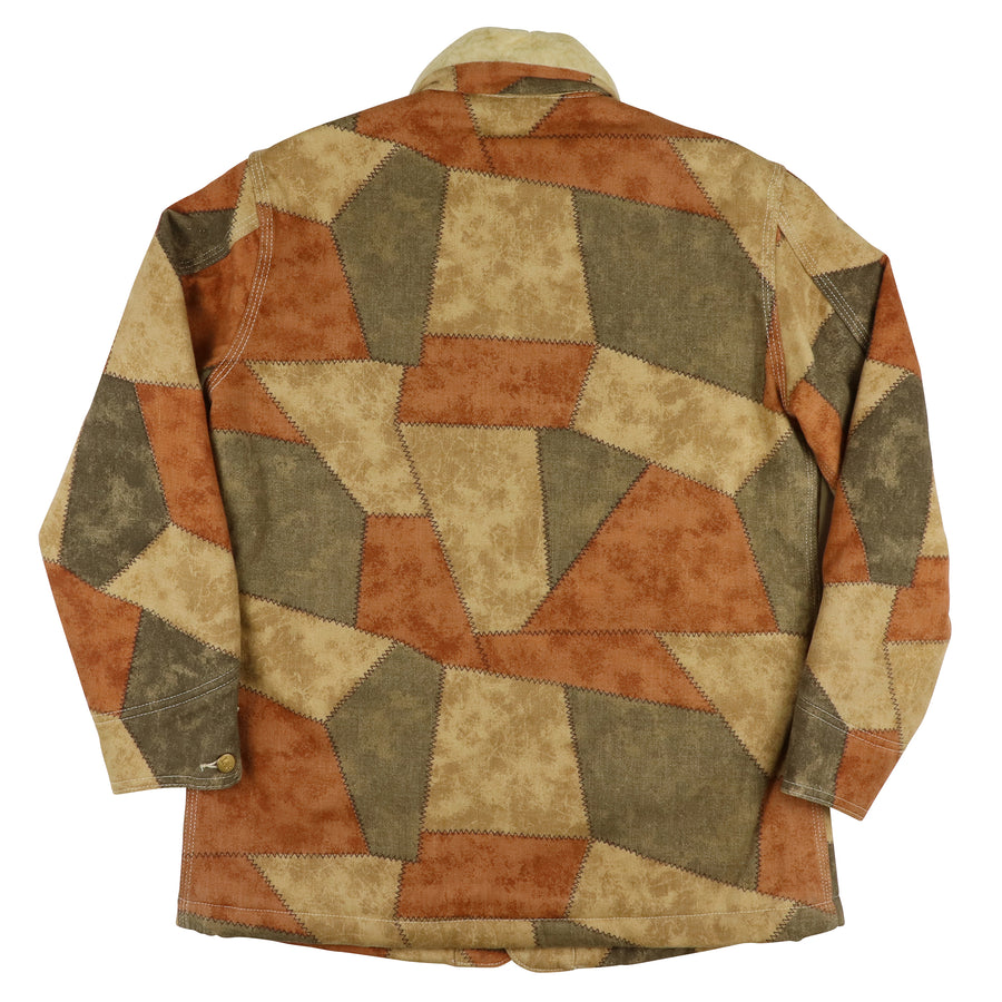 1970s Lee Union Made Sherpa Lined Patchwork Print Chore Jacket 40