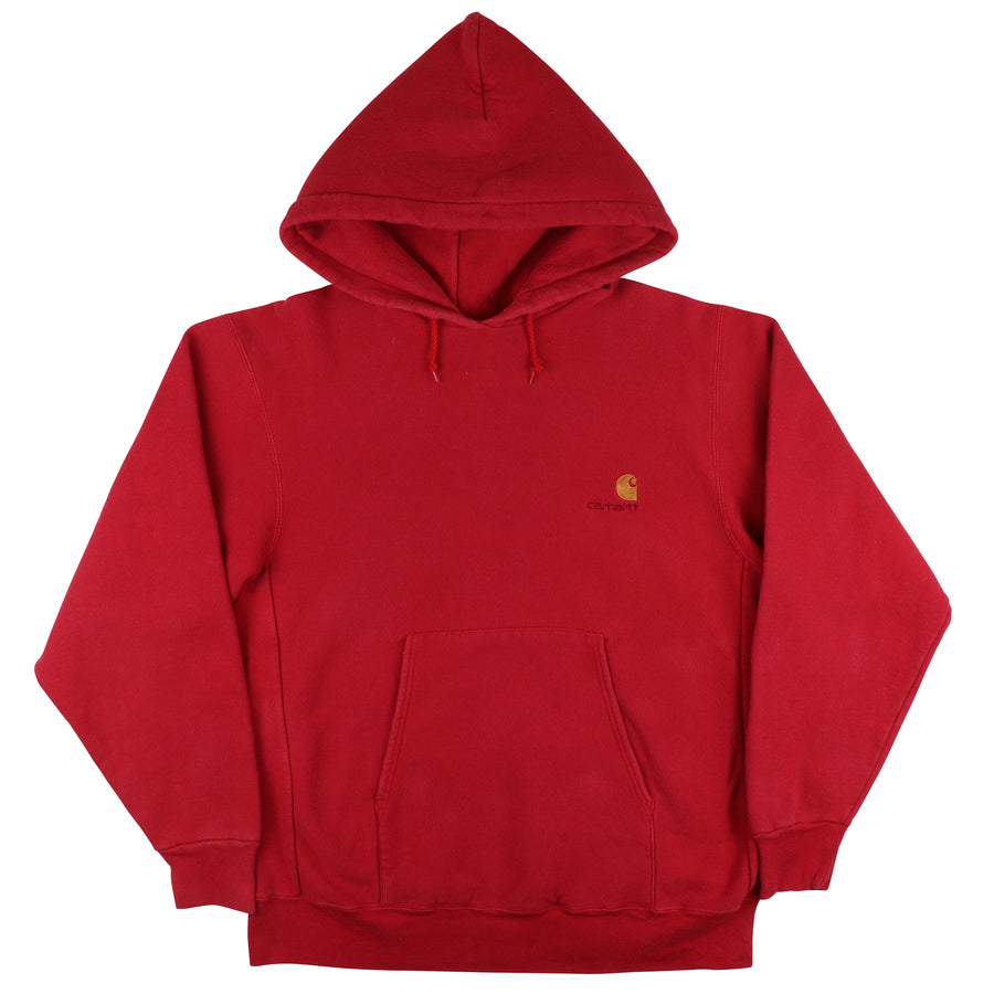 1990s Carhartt Embroidered Logo Hooded Sweatshirt M