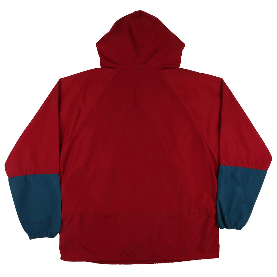 1990s LL Bean Half Zip Colour Blocked Hooded Jacket L
