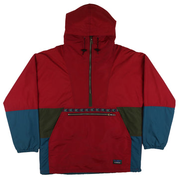 1990s LL Bean Half Zip Colour Blocked Thinsulate 3M Hooded Jacket M