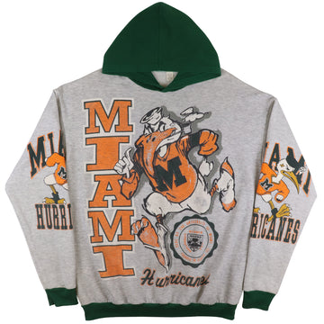 1990s Miami Hurricanes All Over Print Hooded Sweatshirt XL