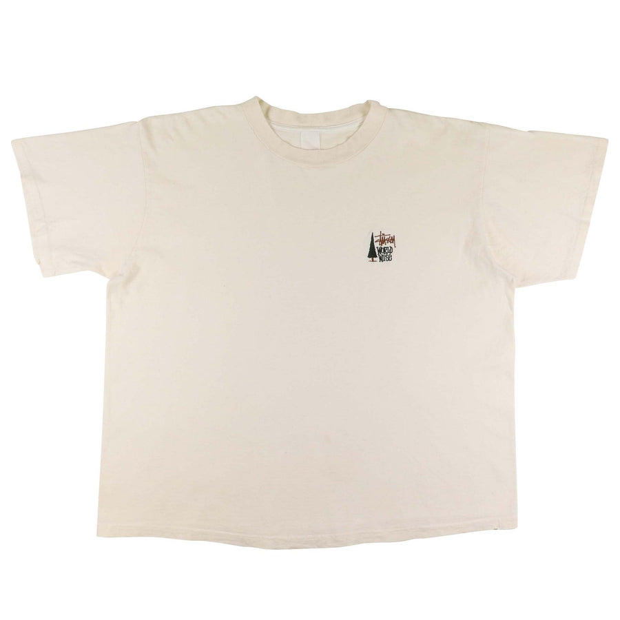 1990s Stussy World Wise Embroidered T-Shirt 2XL