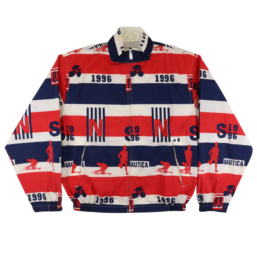 1996 Nautica Striped All Over Print Jacket XL