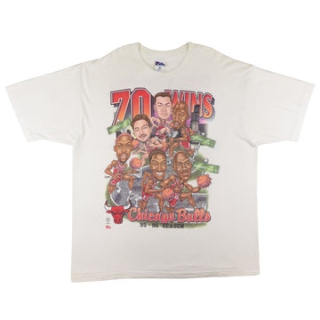 1996 Chicago Bulls 70 Wins Team Big Head T-Shirt 2XL