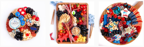 Seasonal Grazing board for fourth of July and holiday celebration ideas
