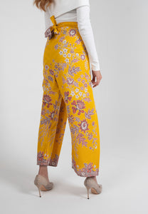 Crop Wrap Pants in Nyonya - Yellow