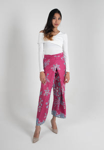 Crop Wrap Pants in Nyonya - Pink