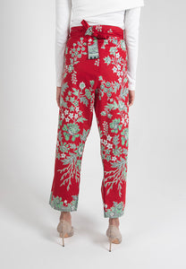 Crop Wrap Pants in Nyonya - Red