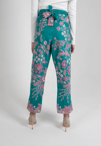 Crop Wrap Pants in Nyonya - Turquoise