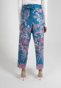 Crop Wrap Pants in Nyonya - Blue