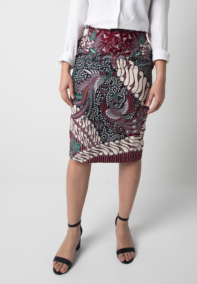 [CLEARANCE] Garuda Pencil Skirt - Maroon