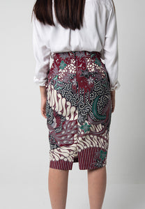 Garuda Pencil Skirt - Maroon