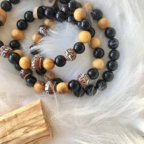 Black tourmaline and palo santo bracelet