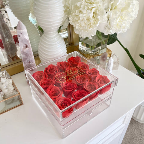 Red Goddess Acrylic Eternal Rose Jewelry Box