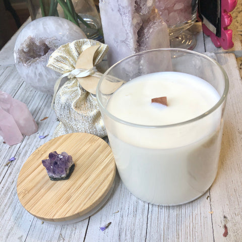 Naked Soy wax amethyst candle