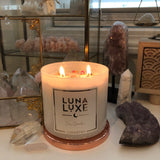 Love Luna Luxe soy wax candle  with hidden crystal