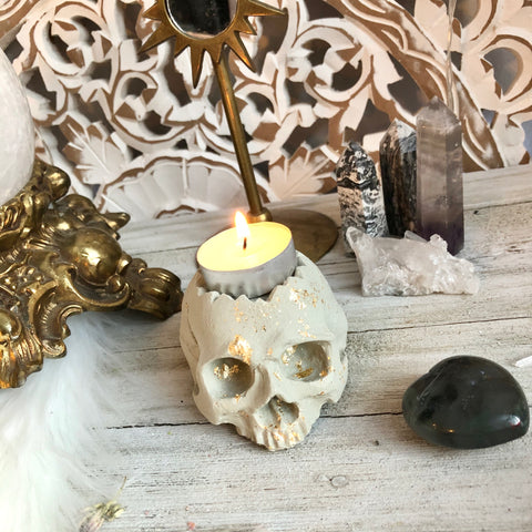Gold foil tealight skull