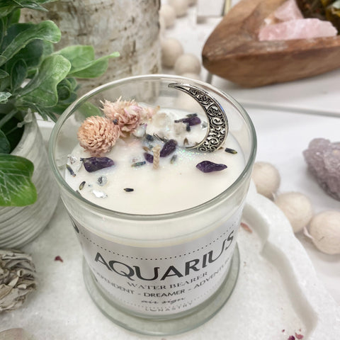 Aquarius Zodiac Crystal Candle