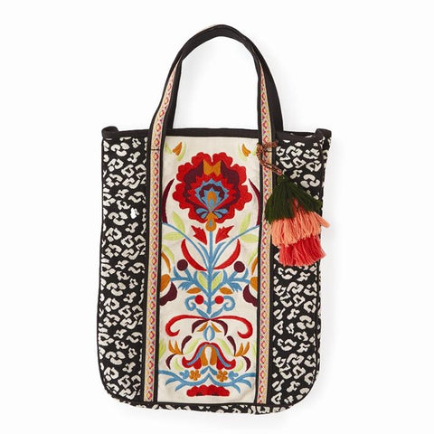 Twos Company Run Wild Embroidered Floral Leopard Tote Bag