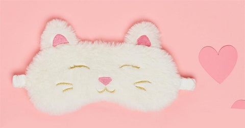 Two's Company Cat Embroidered Eye Mask