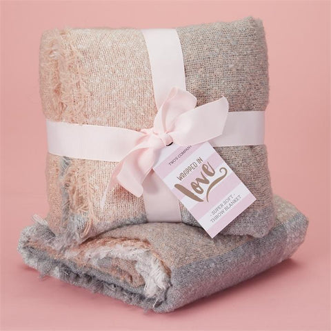 Twos Company Wrapped in Love throw Blanket Soft Pink