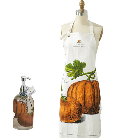 Twos Company Apron in Pie Dish and matvhing Liquid Hand Soap - Pumpkin