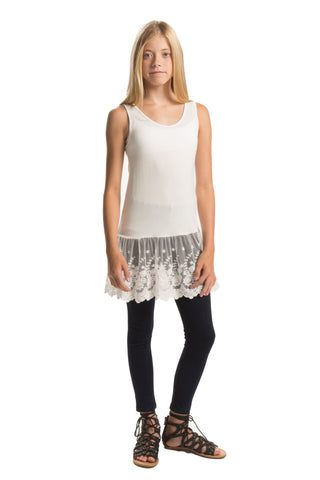 People' Project LA Tween Girls Sylvie Lace Bottom Tank - Large (14-16)