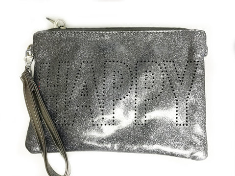 Bari Lynn Double Sided Happy Convertible Wristlet