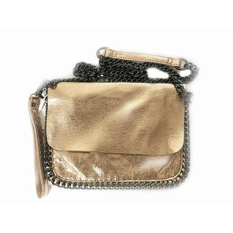 Bari Lynn Metallic Rose Gold Chain Convertible Wristlet