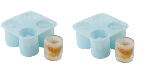 Twos Company Silicone Ice Shots Mold - Makes 4 Shot Glasses - Set of 2