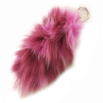 Bari Lynn Fox Fur Tail Key Chain Multi Color Pink