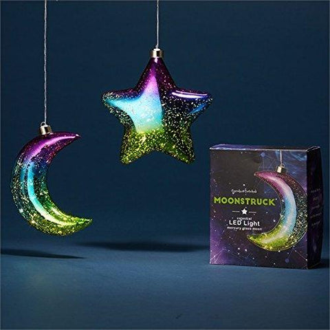 Twos Company Star and Moon LED Light Up Hanging Mercury Glass Ornament