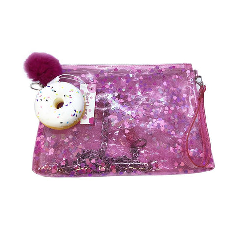 Bari Lynn Girl Jelly Confetti Wristlet Bag (Assorted Clips)