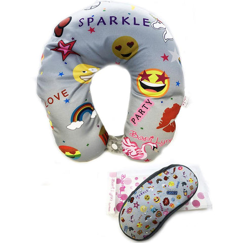 Bari Lynn Traveling Neck Pillow and Crystallized Eye Mask Zebra