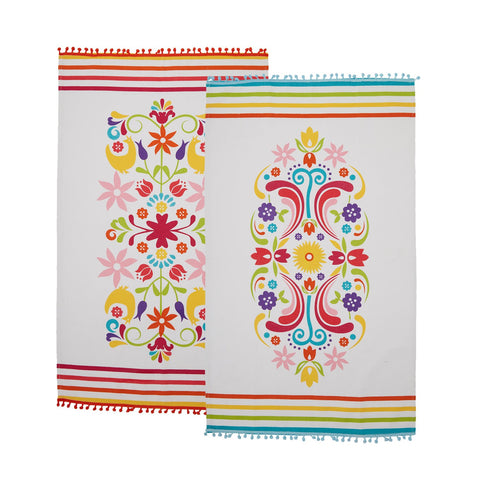Twos Company Otomi Dish Towel and Spoon Muddler Set of 2