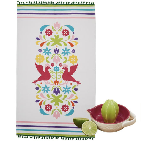 Twos Company Cactus Citrus Reamer Hand Juicer - and Otomi Dish Towl and Spoon Muddler