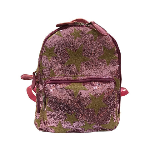 Bari Lynn Gold Star Pink Glitters Mini Backpack