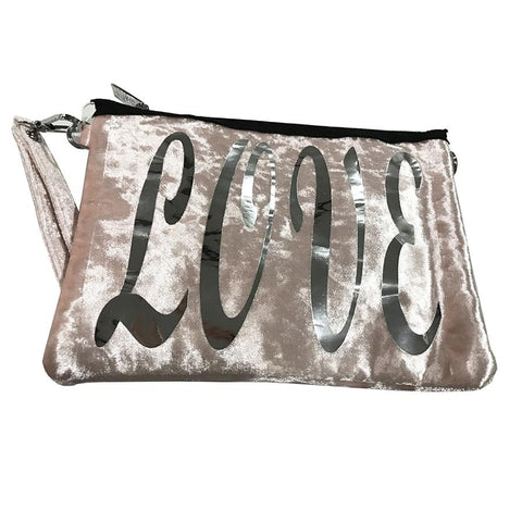 Bari Lynn Girls Love Pink Velvet Shoulder Bag - Wristlet