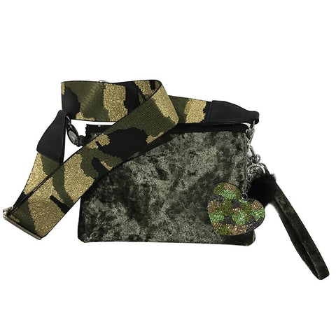 Bari Lynn Girls Green Velvet Shoulder Bag and Camo Heart and Strap